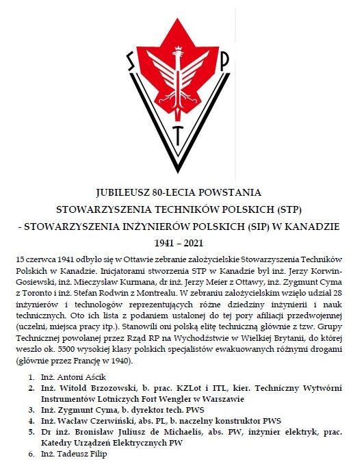 Jubileusz 80-lecia powstania Stowarzyszenia Techników Polskich (STP)-Stowarzyszenia Inżynierów Polskich (SIP) w Kanadzie (1941-2021) – OPRACOWANIE
