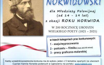 Zawiadomienie o Konkursie Norwidowskim dla młodzieży polonijnej od 14 – 19 lat