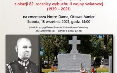 Złożenie hołdu polskim generałom na cmentarzu Notre-Dame w Ottawa-Vanier – 18 IX 2021, 14:00